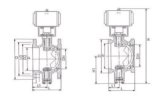 V type ball valve drawing