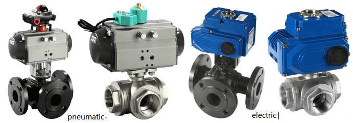 pneumatic-electric-three way ball valve-flange-crew-T-L-type
